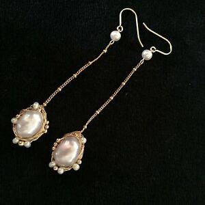 Natural white 100% Baroque freshwater pearl Tassels Original works Earrings