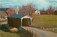 Landis Mill Bridge Pennsylvania~Covered Bridge~Farms~Silo~1969 Postcard
