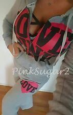Victoria's Secret Pink VS Mega Heart Rear Logo Flat Front Sweats Hoodie Set M S