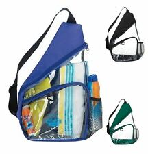 CLEAR Sling Backpack Bag Tote Blue Black Green Small Mini Stadium Game Security
