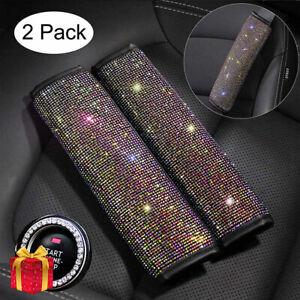 2*Crystal Diamond Seat Belt Shoulder Pads Bling Car Safety Belt Covers Sparkly