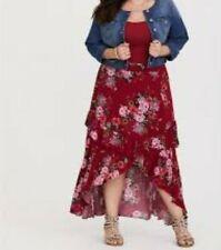 a3d9d462804 Torrid Red Floral Hi-lo Gauze Skirt 2x 18 20  75938