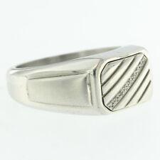 Estate Mens Stainless Steel Round Cut 0.05ct Genuine Diamond Black Onyx Dad Ring
