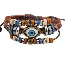 Armband-Das schützende Auge- verstellbar braun Türkisches Schutzsymbol Zugband