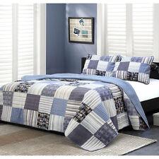 Beautiful Reversible Blue Ocean Plaid Stripe Cabin Cotton Quilt Set King & Queen