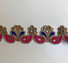 ATTRACTIVE INDIAN PINK and BLUE  FABRIC & CRYSTAL EMBROIDERY  TRIM/LACE-One MTR