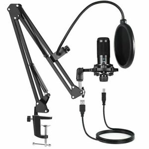 Professional USB Condenser Microphone Mic Stand Set for PC Mac Laptop Stream Rec