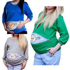 Maternity Tops Pregnant Women Cartoon Pattern Printed Shirt Clothes Long Sleeves