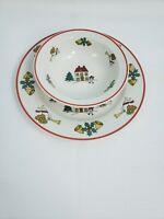 The Joy of Christmas Jamestown China Stoneware Ceramic Dinner Plates Bowls Set