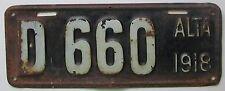 Alberta 1918 DEALER License Plate # D 660