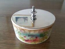 Lovely Victorian Vintage Antique Crown Devon Floral Porcelain Bowl Dish EPNS
