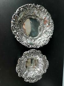 2 Beautiful Sterling Silver Antique Repousse Bowls