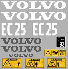 Volvo EC25 Aufkleber Bagger Komplettset mit Sicherheit Warnung