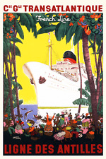 Vintage 1950s Travel Poster French Ocean Liner Cruise Ship Caribbean Tropical