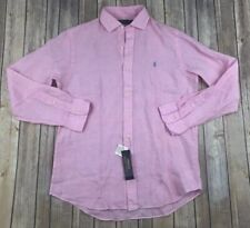 Polo Ralph Lauren Mens Linen Button Down Pink Sz LARGE Classic NWT MSRP $98.50