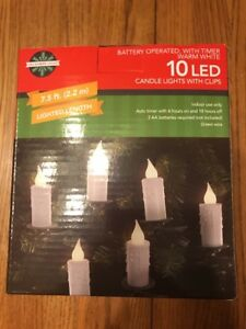 10 LED Candle Lights w/ Clips Battery Operated Timer Warm White Christmas Tree