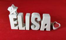 Beton, Steinguss Buchstaben 3D Deko Namen Schriftzug ELISA als Geschenk verpackt