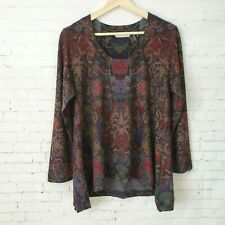 Soft Surroundings Womens Sweater Size Petite S Paisley Brown Lightweight