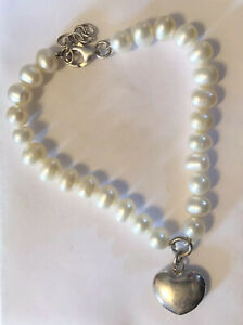 925 Sterling Silver Pearl Bracelet With Solid Heart Charm Lobster Clasp
