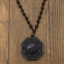 Vintage Natural Black Obsidian Carved Chinese BaGua Lucky Pendant Beads Necklace