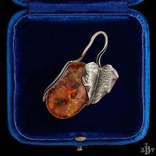 Antique Vintage Nouveau Sterling Silver Austrian Ivy Leaf Amber Pendant Necklace