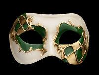 Maschera Di Venezia Columbine Arlecchino Verde E Dorata Per Ballo 924 V23