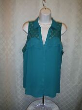 Sleeveless Full Button front Shirt Blouse XL Candie's Alpine Green NWT