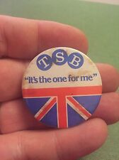 """Vintage Pin Badge. Advertising. """"TSB It's The One For Me"""" Union Flag. GB UK"""