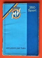 MV AGUSTA 350 SPORT FACTORY ORIGINAL OWNERS HANDBOOK ITALIAN LANGUAGE 1975