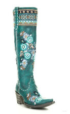 "L3346-1 OLD GRINGO PACHAMAMA TURQUOISE FLORAL EMBROIDERED 17"" TALL LEATHER BOOTS"