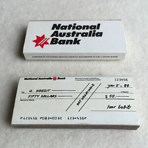 Vintage 80s NATIONAL Australia BANK 'Cheque' ADVERTISING Matches MATCHBOX ~Japan