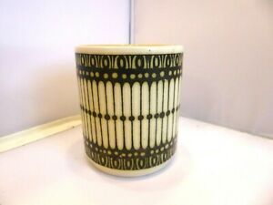Hornsea Pottery Small Pot Beige with Black Design
