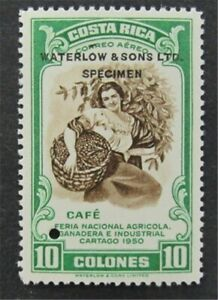 nystamps Costa Rica Waterlow Color Proof Stamp MOGNH Only 100 Exist.    L30y320