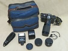 Minolta X-7A 35mm Film Camera Vintage Strap, Kalimar Bag Flash Lenses Film