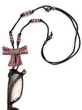 Handmade Eyeglasses Sunglasses Holder Adjustable necklace Red and Silver Bow
