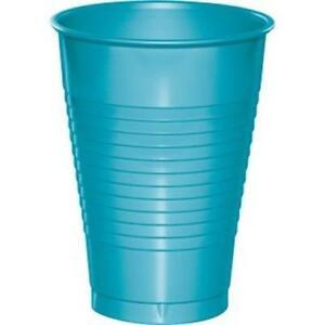Bermuda Blue 12 oz Plastic Cups 20 Pack Blue Tableware Decorations Supplies