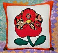 Vintage Poppy Floral Applique Quilt Block Throw Pillow #4