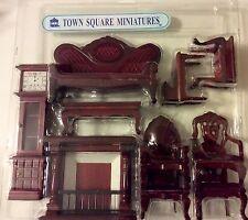 Dollhouse Miniatures Town Square Victorian 10 Piece Mahogany Living Room Set BNI