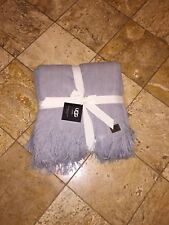 "NWT UGG Australia Gray Fine Cable Knit Fringe Throw Blanket Home Decor 50"" x 70"""