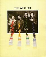 THE WHO 1981 FACE DANCES TOUR CONCERT PROGRAM BOOK-PETE TOWNSHEND-EXC TO NMT
