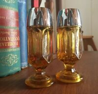 "Vintage Amber Glass And Chrome Pedestal Salt And Pepper Shakers, 4.5"" Tall"