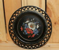 Vintage hand painted floral metal tole dish