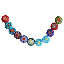 50Pcs Mixed Color 8mm Flower Round Glass DIY Loose Spacer Flat Beads Finding