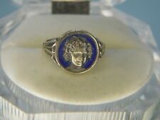 SHIRLEY TEMPLE FACE RING DARK BLUE ENAMEL GROUND ...STERLING Ring Premium MINT