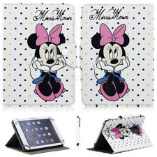 """For iPad 2 3 4/Air/Mini/Pro/9.7"""" 2018 Mickey Minnie Universal Leather Case Cover"""
