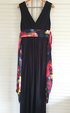 TED BAKER Sophika dress Size 2 10 black floral maxi Summer holiday occasion