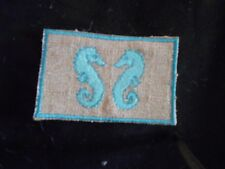 SEA HORSES IN BEIGE LINEN MINI RUG FOR MINIATURE  DOLL HOUSE 1 INCH SCALE