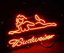 Sexy Girl Budweiser Vintage Real Glass Neon Sign Light Boutique Shop Room Wall