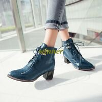 New Womens Block Chunky High Heel Leather Lace Up Punk Ankle Boots Cacual Shoes