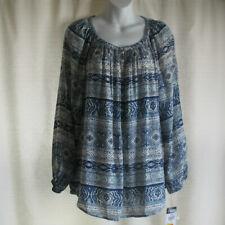 M Chaps Peasant Gypsy Top Southwest Loose Shirt Blouse Blue New Cotton Blend
